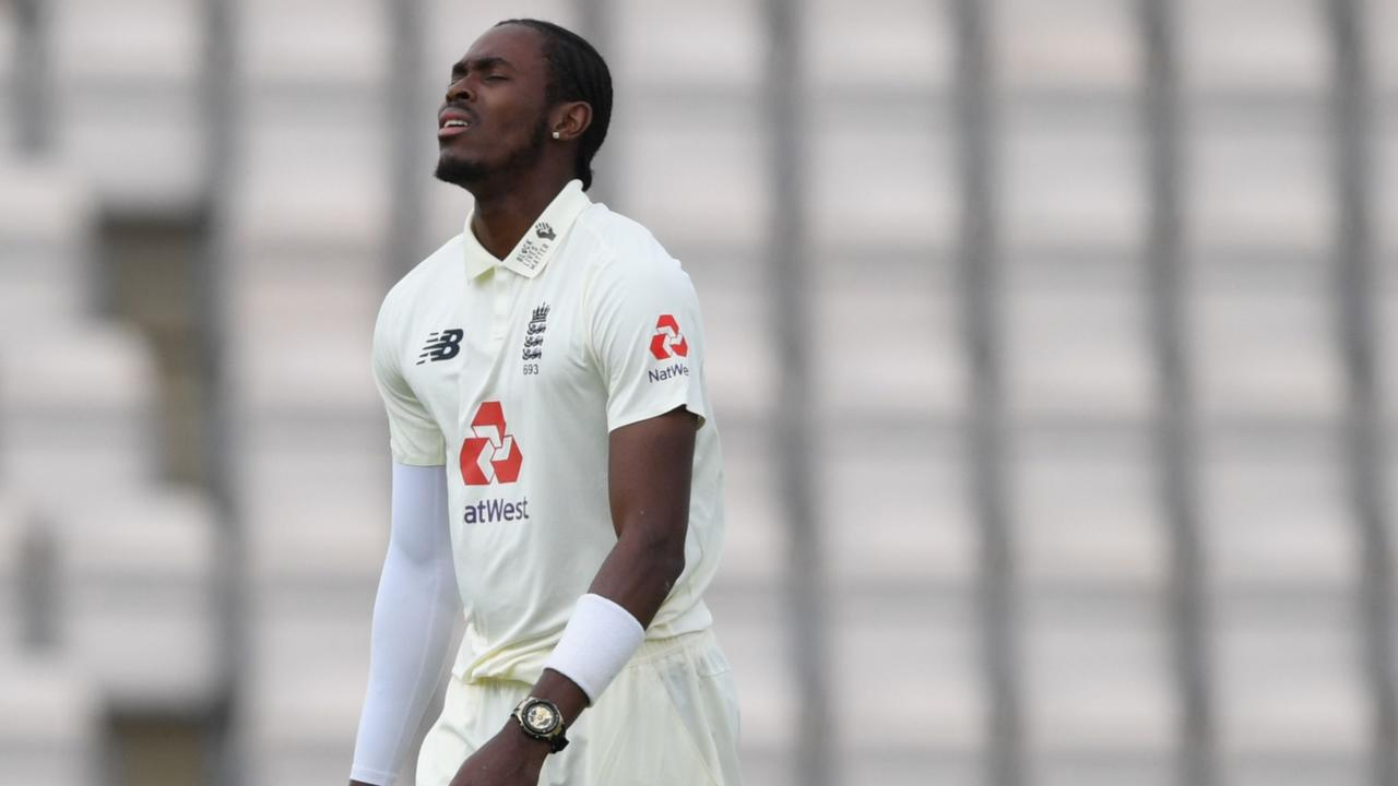 """Jofra Archer was ruled out of the second Test against the West Indies for breaking coronavirus """"protocols"""". (Photo by Mike Hewitt / POOL / AFP)"""