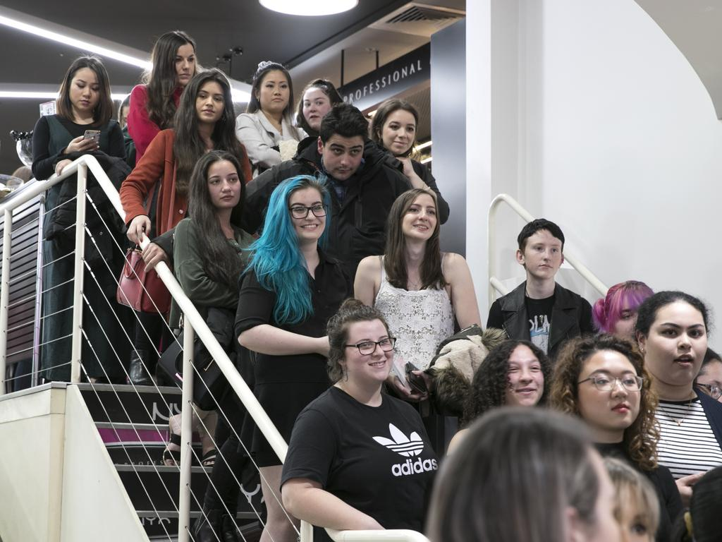 Excited make-up fans queued up in Melbourne on Thursday night to get their hands on some Revolution make-up. Picture: Supplied