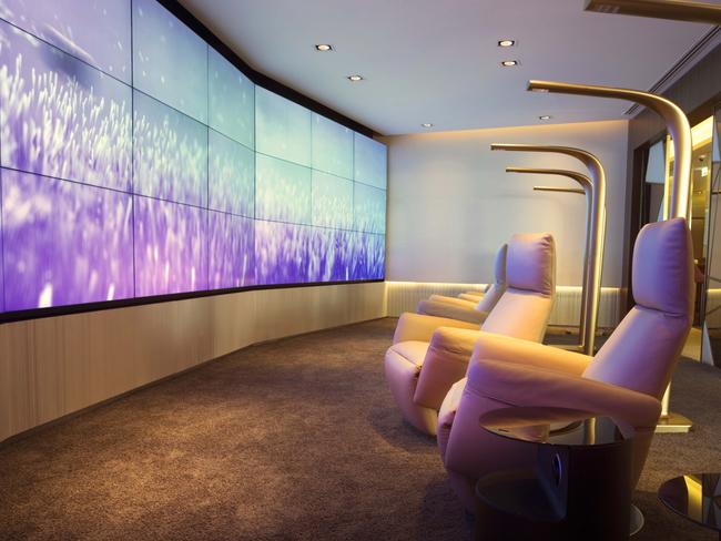ETIHAD'S FIRST LOUNGE & SPA, ABU DHABI INTERNATIONAL AIRPORT With a fitness room for those needing a workout, and a sanctuary spa for those needing to unwind, it also boasts its own cinema. Picture: Etihad
