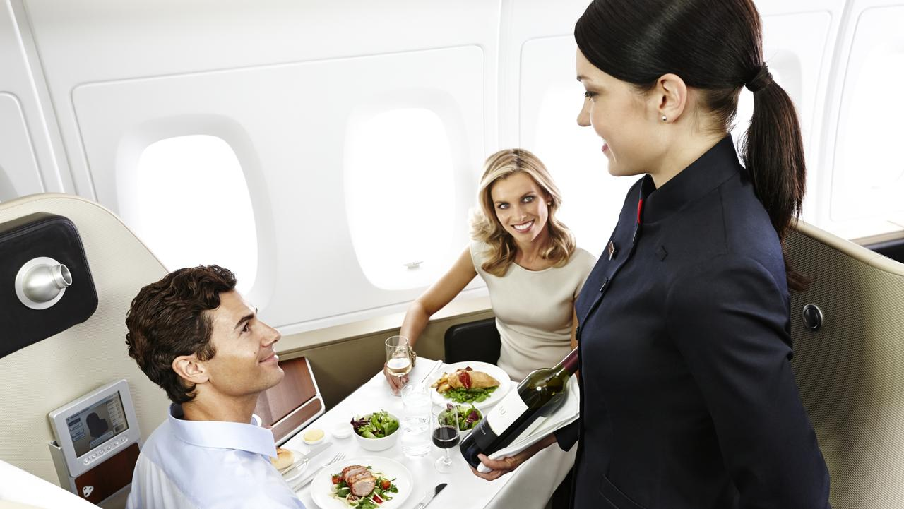 First class dining on Qantas. Picture: Qantas