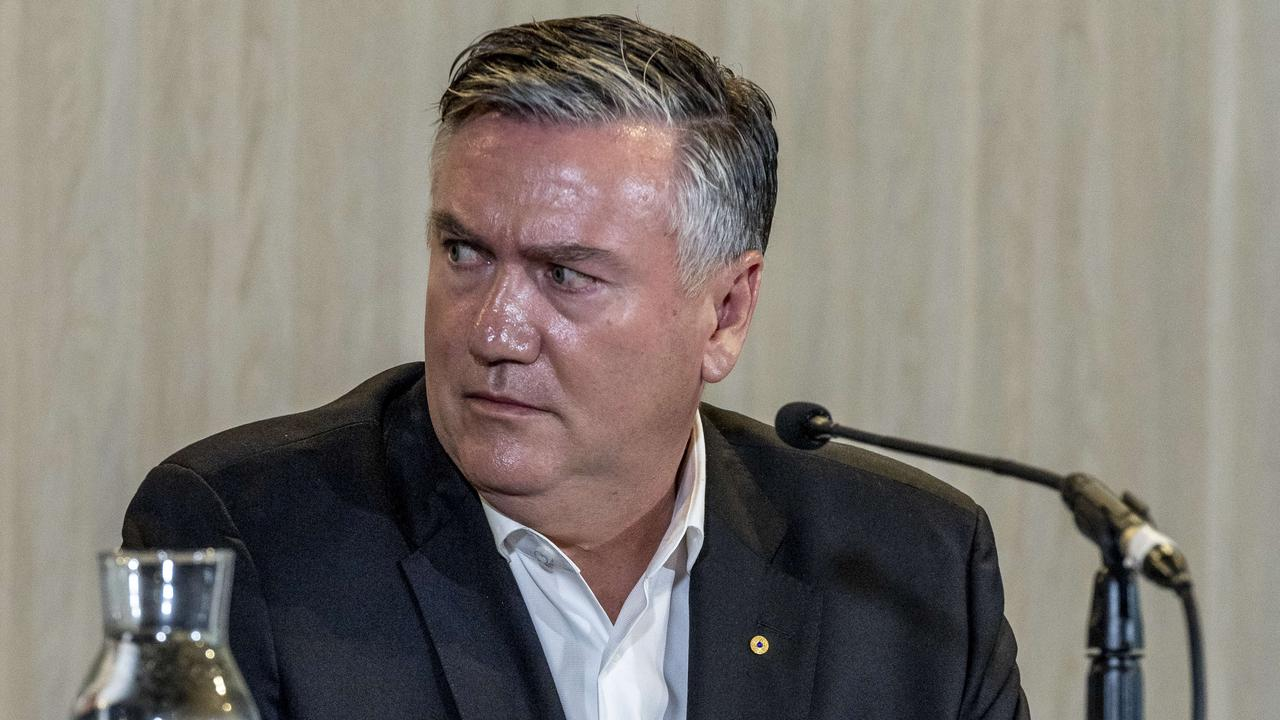 """Eddie McGuire says he shouldn't have called the release of Collingwood's racism report """"a proud day"""". Picture: Jake Nowakowski"""