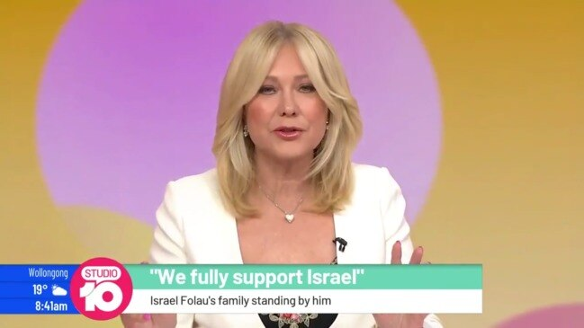 Kerri-Anne Kennerley weighs in on friends and family support for Israel Folau (Studio 10)