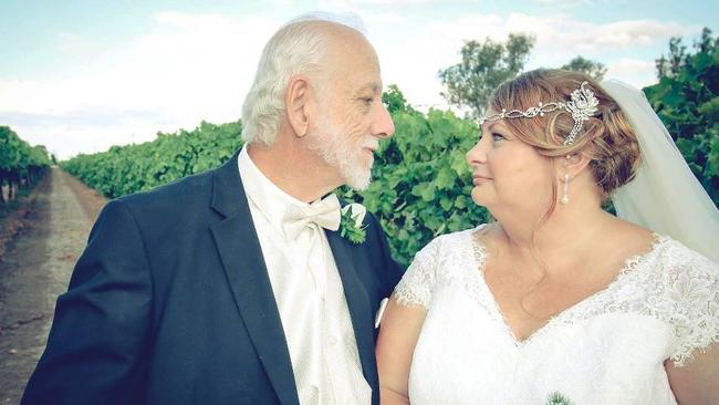 Con and Michelle Cominos on their wedding day in Emerald on October 31 last year.