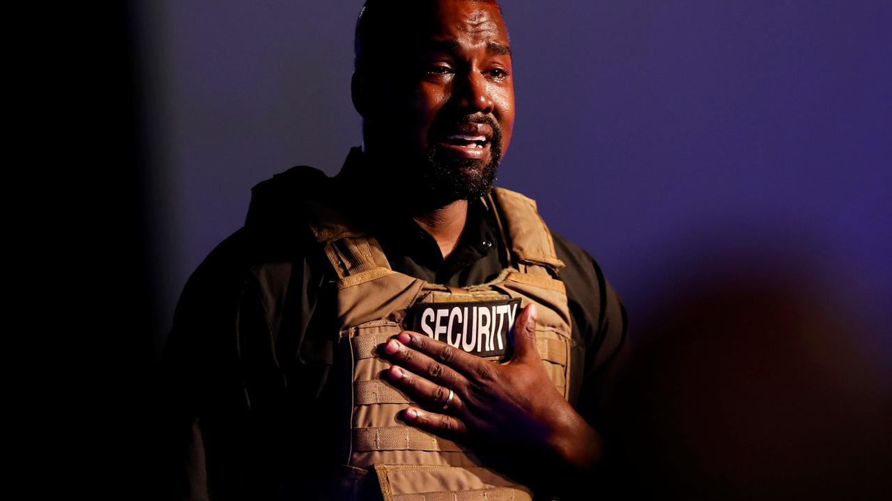 Kanye West at his first political rally in July. Picture: Reuters/Randall Hill