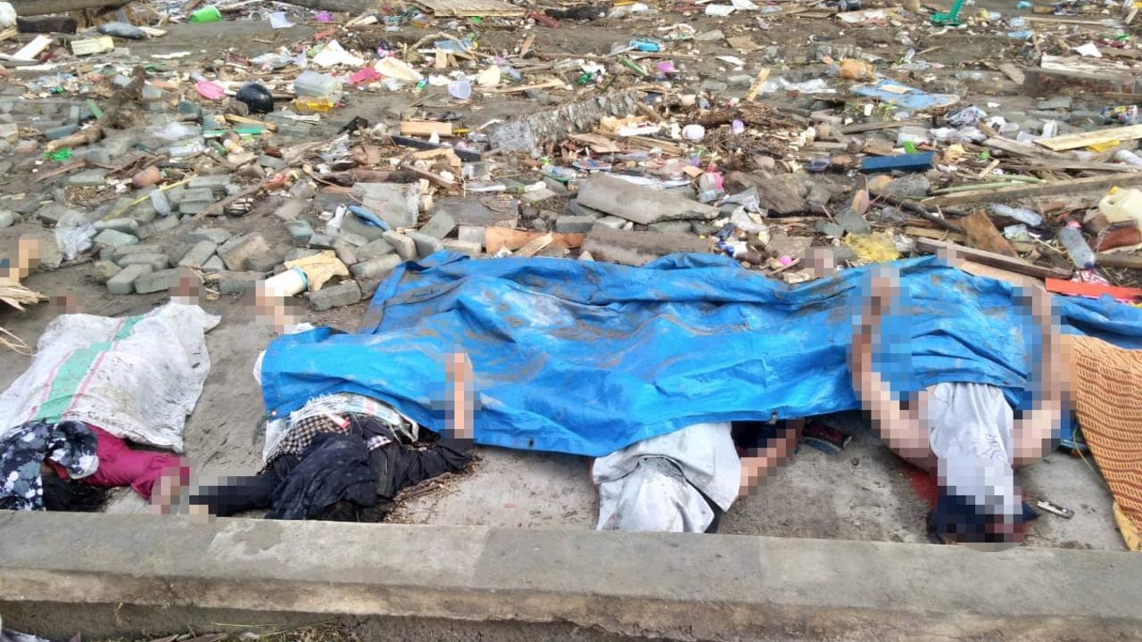 Bodies of tsunami victims in Palu, on Sulawesi island, Indonesia, on September 29, 2018. Picture: Ola Gondronk / AFP.