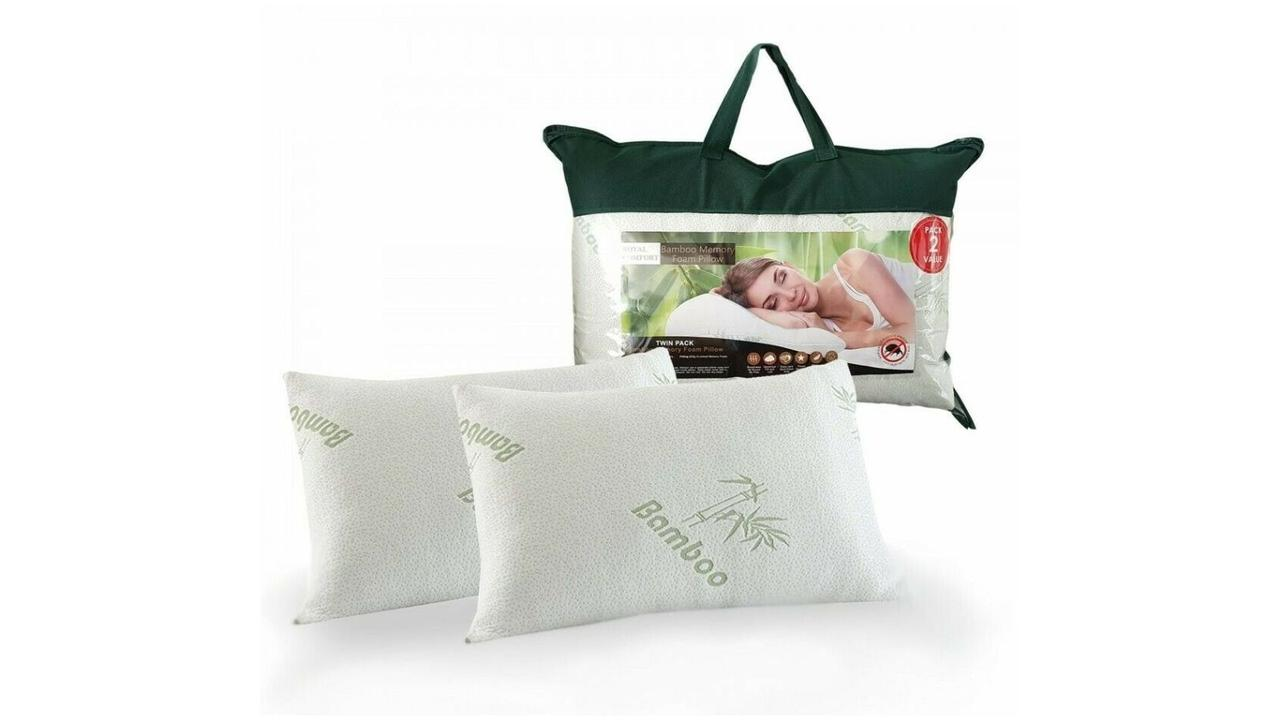 Royal Comfort Luxury Bamboo Covered Memory Foam Pillow Twin Pack. Image: news.com.au Store.
