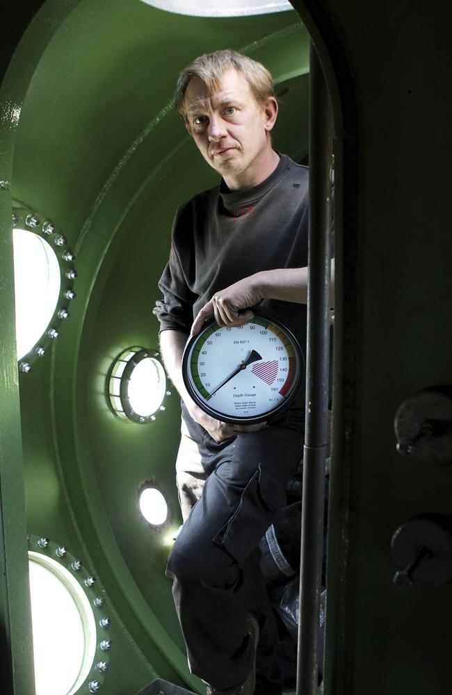 """A file photo form 2008 shows Madsen inside the Nautilus. He later fell out with volunteers and reportedly described it as being '""""cursed"""". Picture: Niels Hougaard /Ritzau via AP, File."""