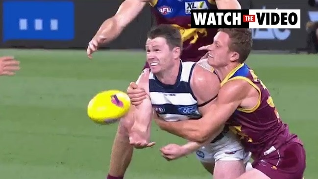 Unhappy crowd after Patrick Dangerfield replay at the Gabba