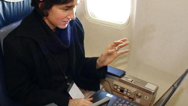 Skysurfing ... checking the web at 30,000 feet on board a Boeing 737. Picture: AP
