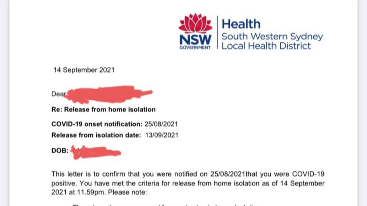 The Bankstown man said he had to make repeated phone calls before finally receiving this letter clearing him to re-enter society.