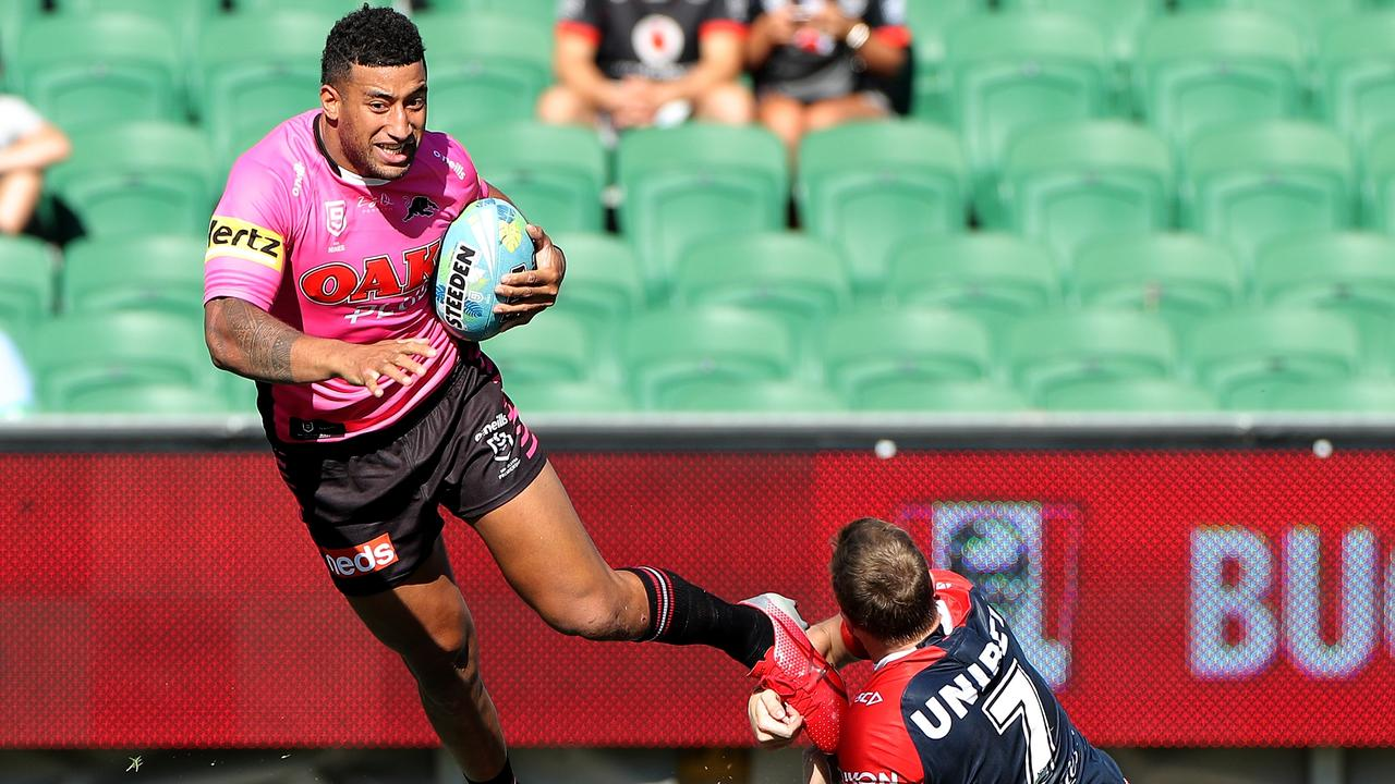 Viliame Kikau of the Panthers scores a try during the NRL Nines