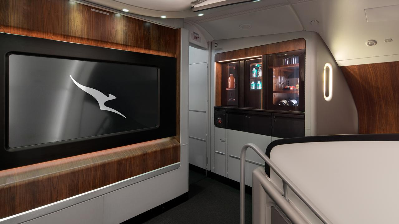 Inside the lounge area on board the new Qantas A380 refurbished aircraft.