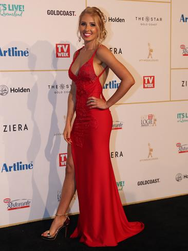 This year's MAFS contestant Ashley Irvin was one of the many stars to sport red. Picture: Nigel Hallett