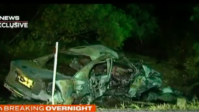 Three men were killed after the car hit a tree on Thursday night. Picture: 7 News