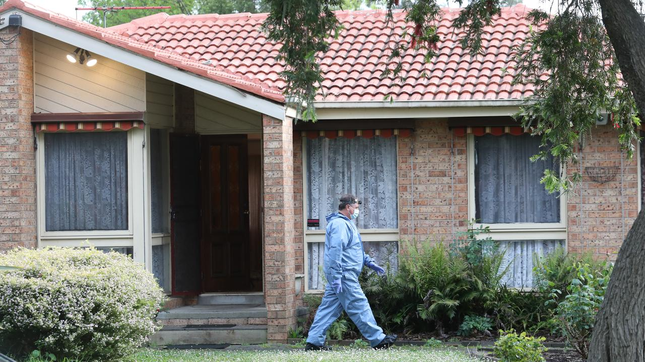 Police forensics at the scene in Bayswater North on Sunday morning. Picture: David Crosling