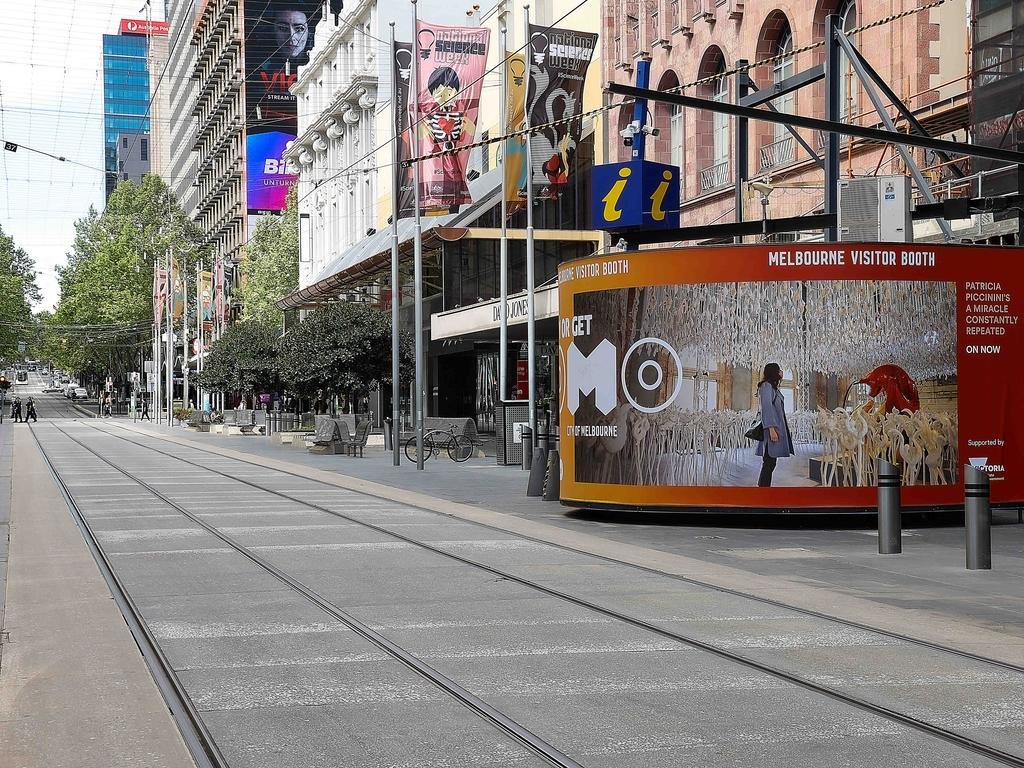 An empty Bourke St. Mall in Melbourne's CBD. Picture: Ian Currie