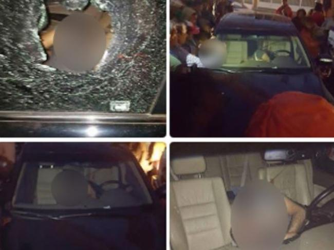 The Honorary Consul of Malaysia in Antananarivo, Zahid Raza, is pictured slumped in his bullet-ridden car minutes after his 'assassination' on August 24. Picture: Supplied