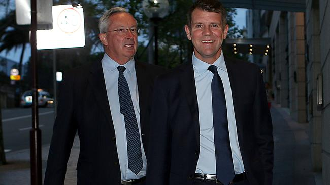 Premier Mike Baird arrives to have dinner with Alan Jones on Monday.