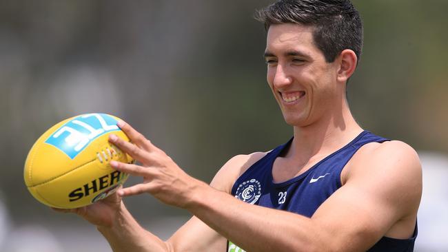 Jacob Weitering cracks a smile at Carlton training. Picture: Wayne Ludbey