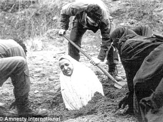 Horrifying death ... a 1990s Amnesty International image of a woman being buried before she was stoned to death in Iran. The punishment has been written into the country's penal code since the Islamic Revolution in 1979.