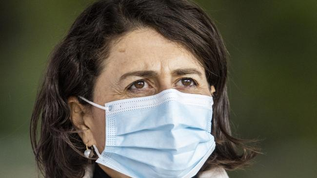 Premier Gladys Berejiklian announced 77 new local coronavirus cases on Sunday – the highest daily number of infections this year – as she revealed Monday's figures would likely swell past 100. Photo: Jenny Evans/Getty Images