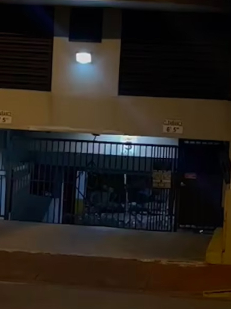 Footage appears to show concrete debris littering the floor and water gushing from the garage ceiling of the doomed Miami condo – just seven minutes before the building collapsed last Friday. Picture: TikTok