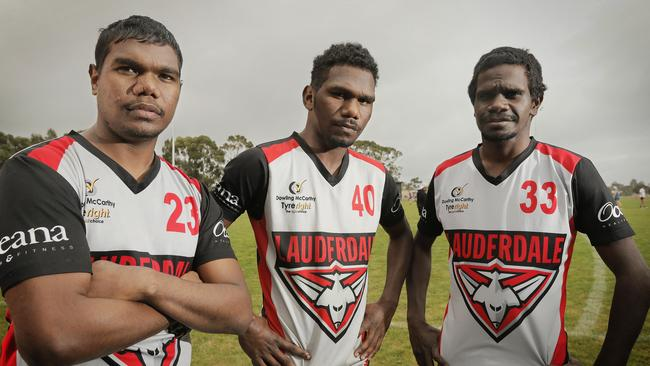 Henry Kerinaiua, Kim Kantilla and Tim Mosquito have come down from the Northern Territory to play footy with Lauderdale in the TSL. Picture: MATHEW FARRELL
