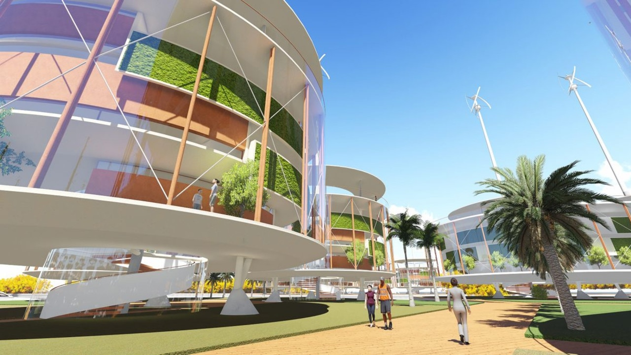 The city would be powered by large solar panels and wind turbines.