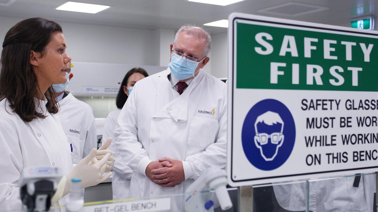 Prime Minister Scott Morrison meets with team member Savannah Alegre, Specialist Team Lead of the Microbiology Laboratory at AstraZeneca on August 19, 2020 in Sydney, Australia. Picture: Lisa Maree Williams – Pool/Getty Images