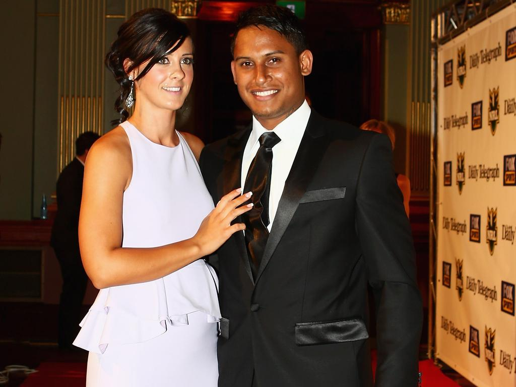 Ainslie Curry and Ben Barba pose on the red carpet as they arrive for the 2012 NRL Dally M Awards.