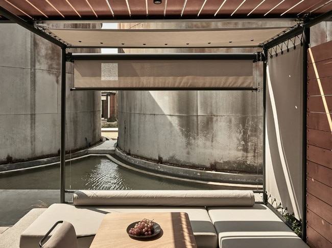 From the outset it was clear that the strong history and raw beauty of the existing buildings (including imposing concrete wine tanks) should not only be preserved, but be showcased in a design that would breathe new life into their walls. The new design compliments their brutality with elegant interventions and transform their austere functionality into a place of calm, comfort and relaxation.