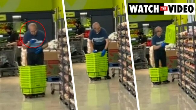 Supermarket worker busted 'spit shining' shopping baskets