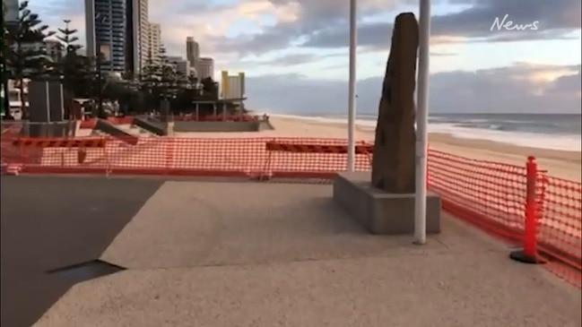 Empty Surfers Paradise beach after virus shutdown