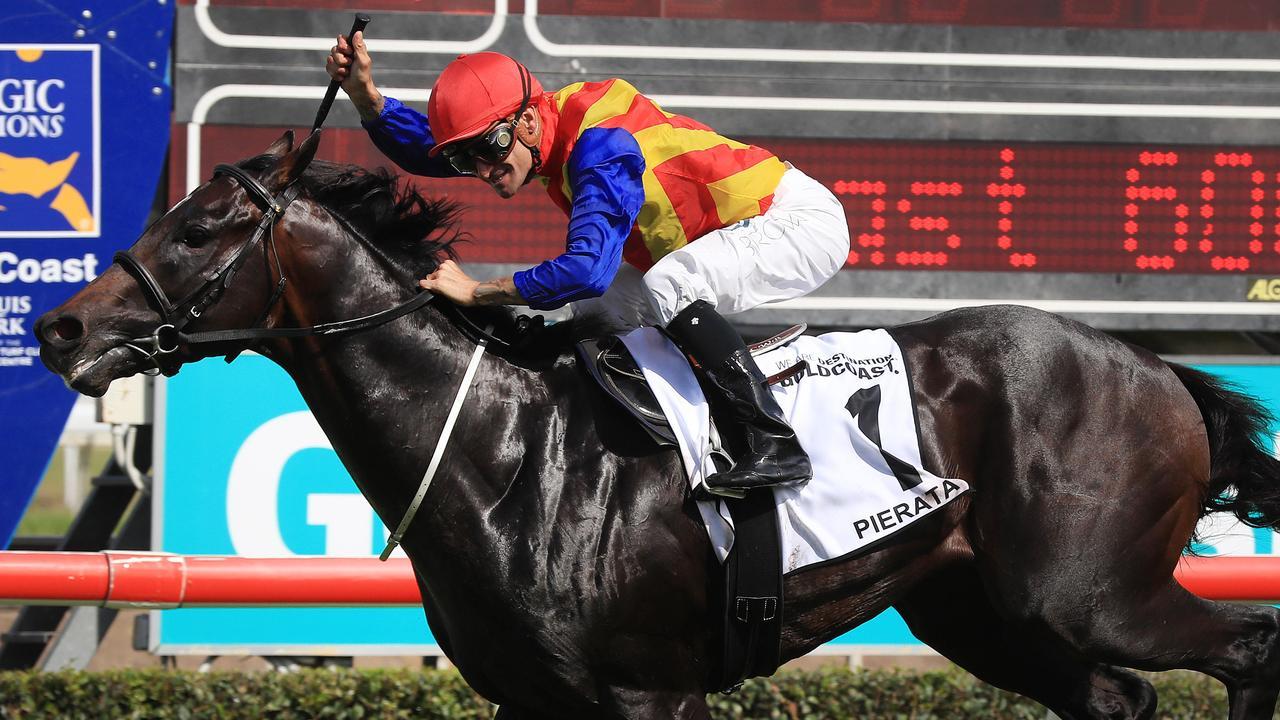 "The 3yo Magic Millions Guineas winner is ""Pierata"" ridden by Jockey Corey Brown at Magic Millions Race day on the Gold Coast. Pics Adam Head"