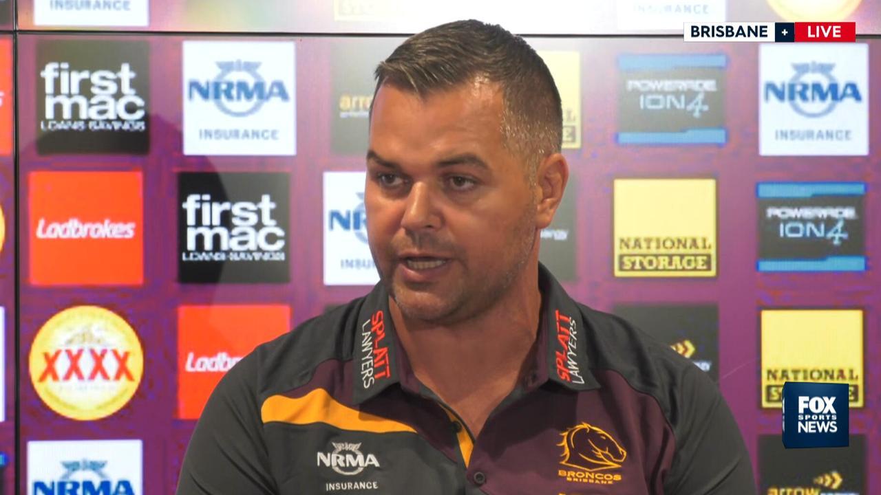 Anthony Seibold addresses the media in Brisbane.