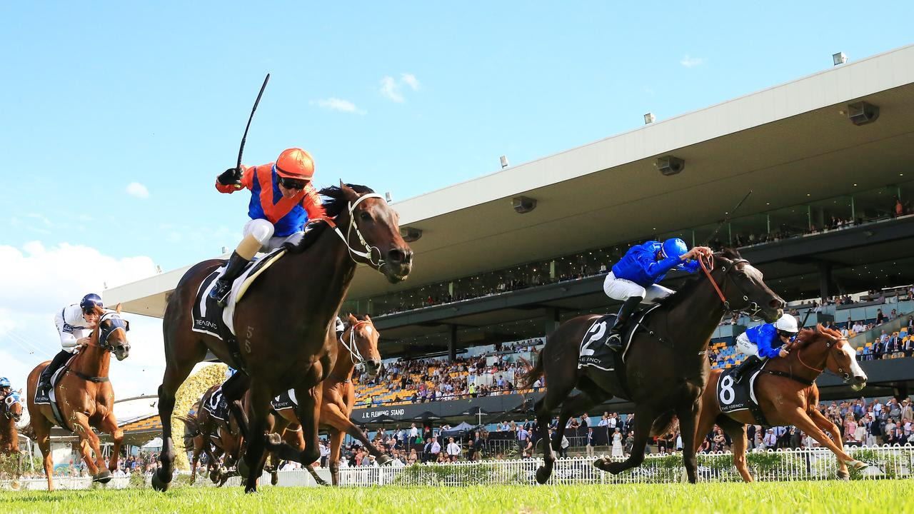 Think It Over (left) winning the George Ryder Stakes at Rosehill Gardens. Picture: Mark Evans–Getty Images