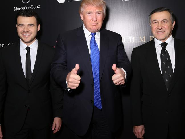 Pop star Emin Agalarov and his father, Russian oligarch Aras Agalarov, were Trump's way in, but despite hosting Miss Universe in Moscow in 2013, the meeting between Putin and Trump never happened. Picture: Victor Boyko/Getty Images