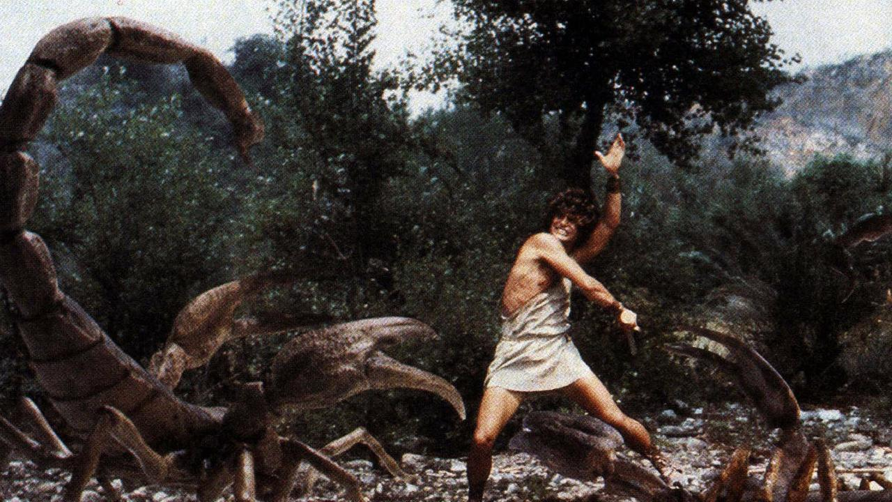 Jason battling giant scorpions in a scene from the movie Jason and the Argonauts.