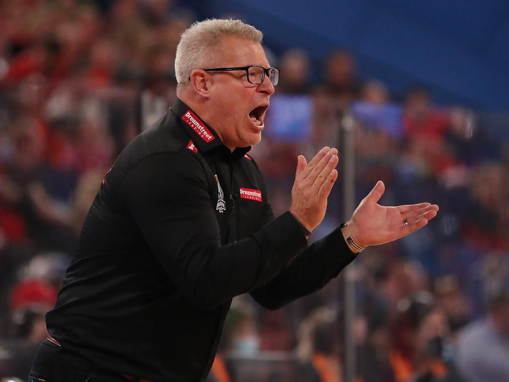 Melbourne United coach Dean Vickerman is urging his charges to put their foot on Perth's throat and finish the NBL grand final series on Friday. Photo: Will Russell/Getty Images.