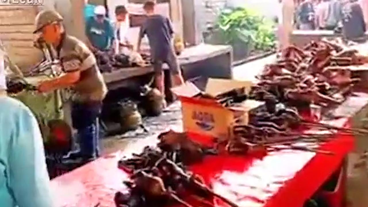 """Wuhan's Huanan Seafood Wholesale Market, a """"wet market'' where exotic animals are kept alive in cages, and butchered for meat. Picture: Supplied."""