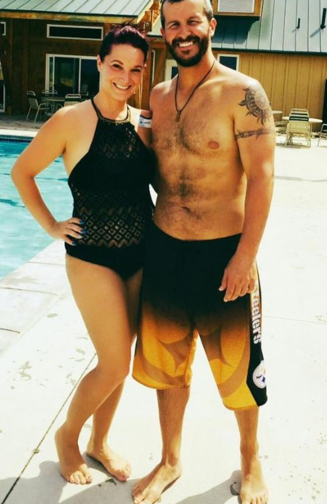 Police have not offered a motive for the murders of Shanann Watts (pictured with husband Chris) and their toddler daughters. Picture: Facebook
