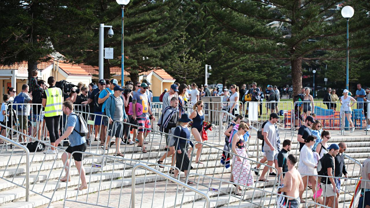 Coogee was packed this morning, despite best efforts from the local council. Picture: Adam Yip