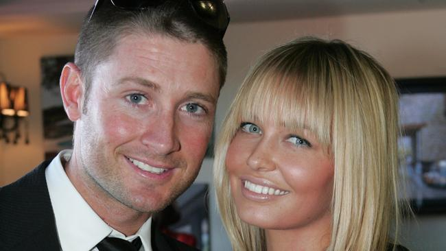 Cricketer Michael Clarke and model Lara Bingle in The Emirates enclosure during 2008 Doncaster Day at Royal Randwick in Sydney.