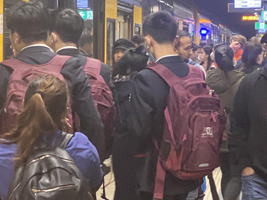 Platforms at Town Hall Station were packed with people as children finished school. Picture: Chris Minns/Twitter