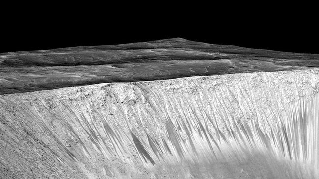 The walls of Garni Crater have the same streaks. Picture NASA.
