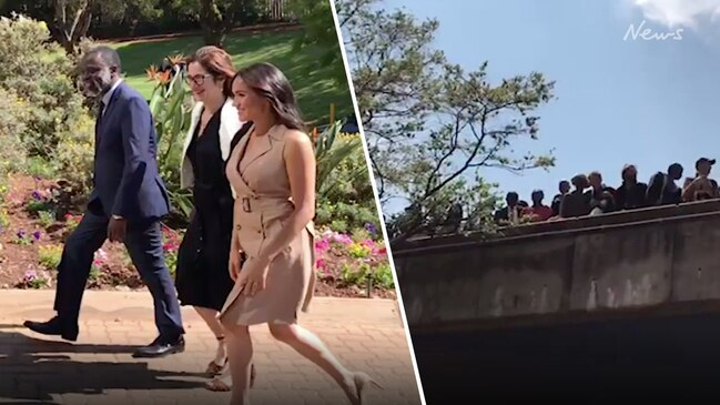 Meghan's movie star entrance at South African university