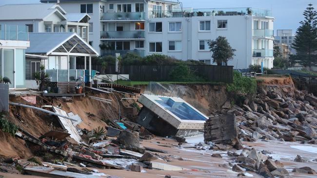 The swimming pool that fell as part of the king tide in Collaroy. Picture: John Grainger