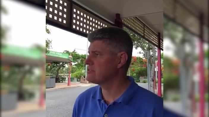 Queensland Transport Minister Stirling Hinchliffe addresses the media after more train services were cut on Christmas Day