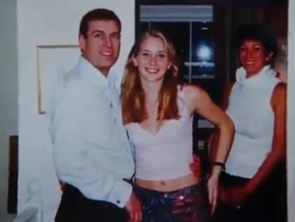 Prince Andrew, Virginia Roberts Giuffre and Ghislaine Maxwell are pictured together inside Maxwell's London home. Picture: Screengrab/Channel 9/60 Minutes.
