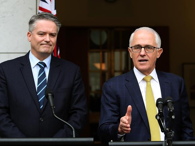 Mr Turnbull is relying on the support of Mr Cormann, who has reportedly told him he has lost control and is facing pressure from the two sides. Picture Kym Smith
